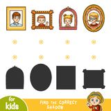 Find the correct shadow. Match portraits by shape. Find the correct shadow, education game for children. Match portraits by shape Royalty Free Stock Image