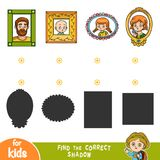 Find the correct shadow. Match portraits by shape. Find the correct shadow, education game for children. Match portraits by shape Stock Photo
