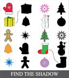 Find the correct shadow. Shadow matching game for children. Christmas new year icons. Find the correct shadow. Shadow matching game for children. Christmas new Royalty Free Stock Image