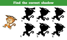 Find the correct shadow (monkey). Find the correct shadow, education game for children (monkey Royalty Free Stock Photos