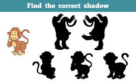 Find the correct shadow (monkey). Game for children: Find the correct shadow (monkey Stock Photo