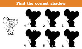 Find the correct shadow (mouse). Game for children: Find the correct shadow (mouse Stock Image