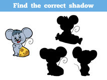 Find the correct shadow (mouse). Game for children: Find the correct shadow (mouse Stock Photos