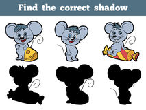 Find the correct shadow (mouse). Game for children: Find the correct shadow (mouse Stock Images