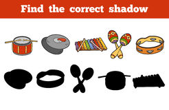 Find the correct shadow (musical instruments). Find the correct shadow, education game for children (musical instruments Royalty Free Stock Photography