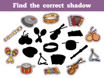Find the correct shadow (musical instruments). Find the correct shadow, education game for children (musical instruments Royalty Free Stock Photos