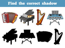 Find the correct shadow (musical instruments). Find the correct shadow, education game for children (musical instruments Stock Images