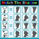 Find the correct shadow of the panda. Illustration of Find the correct shadow of the panda Royalty Free Stock Photo