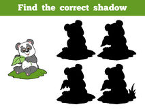 Find the correct shadow (panda and leaf). Game for children: Find the correct shadow (panda and leaf Stock Images