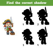 Find the correct shadow (pirate boy and chest). Find the correct shadow, education game for children (pirate boy and chest Stock Image