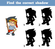 Find the correct shadow (pirate boy and flag) Stock Images
