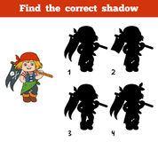 Find the correct shadow (pirate girl and flag) Stock Image