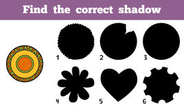 Find the correct shadow, a plate with geometric pattern. Find the correct shadow, education game for children, a plate with geometric pattern Stock Photo