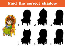 Find the correct shadow, princess seated on a throne. Find the correct shadow, education game for children, young princess seated on a throne with the bunny in Stock Images