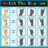 Find the correct shadow of the rabbit. Illustration of Find the correct shadow of the rabbit Royalty Free Stock Photography
