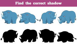 Find the correct shadow (rhino). Game for children: Find the correct shadow (rhino Royalty Free Stock Images