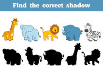 Find the correct shadow (safari animals). Find the correct shadow, education game for children (safari animals Stock Images
