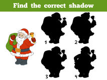 Find the correct shadow (Santa Claus and bell). Find the correct shadow, education game (Santa Claus and bell Royalty Free Stock Image