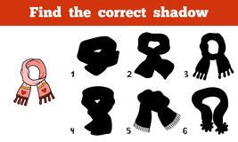 Find the correct shadow, scarf with heart. Find the correct shadow, education game for children, scarf with heart Royalty Free Stock Photography