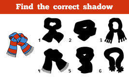 Find the correct shadow, scarf with stripes. Find the correct shadow, education game for children, scarf with stripes Stock Images