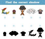Find the correct shadow. A set of accessories for the magician. Find the correct shadow, education game for children. A set of accessories for the magician Stock Photography