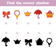 Find the correct shadow. A set of accessories for the princess. Find the correct shadow, education game for children. A set of accessories for the princess Royalty Free Stock Images