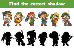 Find the correct shadow (set of characters pirates). Find the correct shadow, education game for children (set of characters pirates Royalty Free Stock Photo