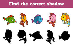 Find the correct shadow (set of fishes). Find the correct shadow, education game for children (set of fishes Royalty Free Stock Images