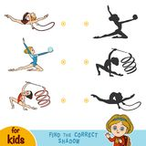 Find the correct shadow, set of gymnasts girl. Find the correct shadow, education game for children, set of gymnasts girl Stock Photography