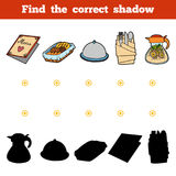 Find the correct shadow. Set of kitchen utensils and objects. Find the correct shadow, education game for children. Set of kitchen utensils and objects from the Royalty Free Stock Image