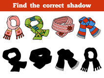 Find the correct shadow. Set of knitted scarves Royalty Free Stock Images