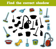 Find the correct shadow. Set of objects for cleaning Royalty Free Stock Photo