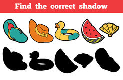 Find the correct shadow. Set of objects for a summer holiday. Find the correct shadow, education game for children. Colorful vector set of objects for a summer Stock Photography