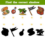 Find the correct shadow. Set of pirate items. Find the correct shadow, education game for children. Set of pirate items Royalty Free Stock Photography