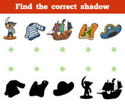 Find the correct shadow. Set of pirate items Royalty Free Stock Photos