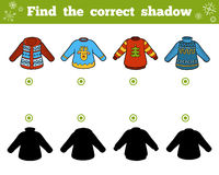 Find the correct shadow. Set of sweaters. Find the correct shadow, education game for children. Set of sweaters Stock Photography