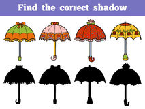 Find the correct shadow, set of umbrellas. Find the correct shadow, education game for children. Vector set of umbrellas Royalty Free Stock Photo