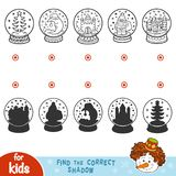 Find the correct shadow. Snowballs with Christmas items. Find the correct shadow, education games. Snowballs with Christmas items Stock Images