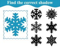 Find the correct shadow of snowflake. Education. royalty free stock photo