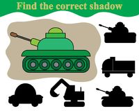 Find the correct shadow of tank. Educational game for children. Find the correct shadow of tank. Educational game for children Stock Image