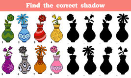 Find the correct shadow (vases). Game for children: Find the correct shadow (vases Stock Photos
