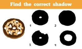Find the correct shadow. Vector cartoon donut. Find the correct shadow, education game for children. Vector cartoon donut Stock Photos