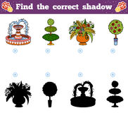 Find the correct shadow. Vector cartoon garden objects Royalty Free Stock Photos