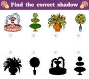 Find the correct shadow. Vector cartoon garden objects. Find the correct shadow, education game for children. Vector cartoon garden objects Royalty Free Stock Photos