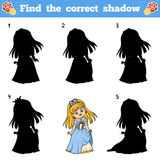 Find the correct shadow. Vector cartoon princess Royalty Free Stock Images