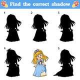 Find the correct shadow. Vector cartoon princess. Find the correct shadow, education game for children. Vector cartoon princess Royalty Free Stock Images