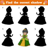 Find the correct shadow. Vector cartoon princess Stock Photography