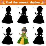 Find the correct shadow. Vector cartoon princess. Find the correct shadow, education game for children. Vector cartoon princess Stock Photography