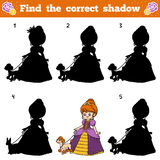 Find the correct shadow. Vector cartoon princess Royalty Free Stock Photography