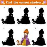 Find the correct shadow. Vector cartoon princess. Find the correct shadow, education game for children. Vector cartoon princess Royalty Free Stock Photography
